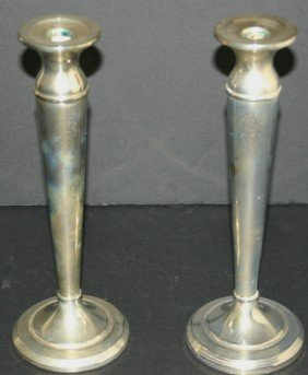Pair Of Continental Silver Co. Silverplate Candlest