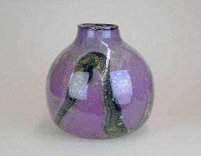 HUGE BULBOUS ART GLASS VASE