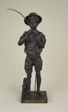 ANTIQUE FRENCH BRONZE BOY FISHING LAVERGNE