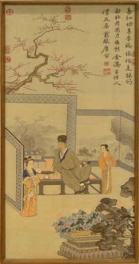 19C CHINESE TAPESTRY ON SILK AFTER T'ANG YIN