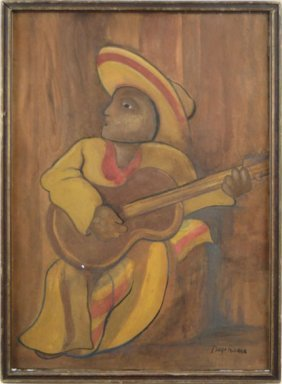 DIEGO RIVERA (1886-1957) GUITAR TROUBADOUR  WATERC