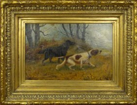 C. DUDLEY ENGLISH OIL ON CANVAS SPRINGERS