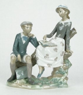 "LLADRO PORCELAIN FIGURINE ""LESSON IN THE COUNTRY"""