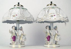SPECTACULAR PAIR OF DRESDEN LAMPS WITH ORIGINAL SH