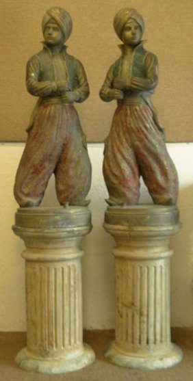 LARGE PAIR OF 20th C PAINTED BRONZE BLACKAMOORS
