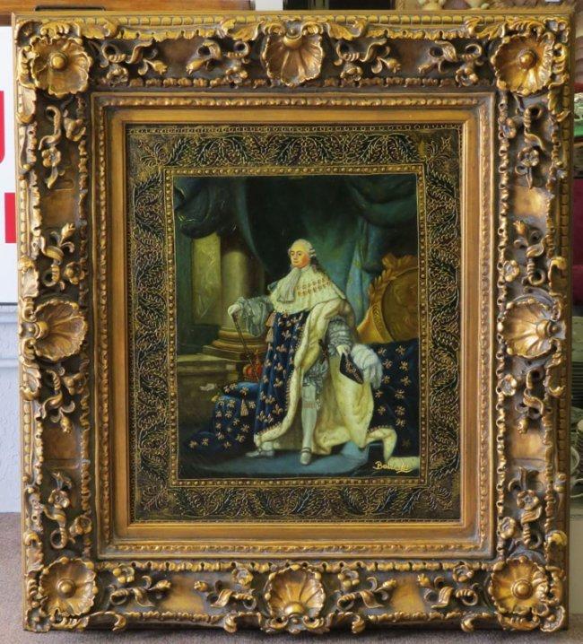 very ornate oil on canvas louis xiv signed balarski lot 151. Black Bedroom Furniture Sets. Home Design Ideas