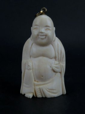 Chinese Craved Buddha Figure Turned Into Pendant. Good