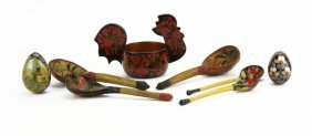 Lot Of Assorted Russian Wooden Lacquered Pieces. Includ