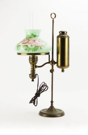 Antique Brass Student Lamp With Handpainted Shade.
