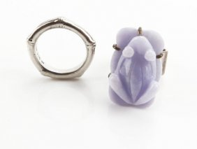 Sterling Silver Lavender Jade Ring Along With Sterling