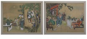 Pair Of Chinese Paintings On Rice Paper. Scratches To
