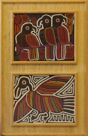"Two (2) Vintage Mola ""birds"" Textile Art Framed In Staw"
