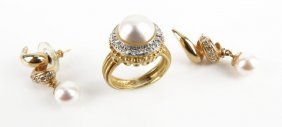 18 Karat Yellow Gold Diamond And Pearl Ring Along With