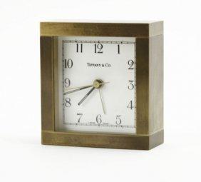 Tiffany & Co Bronze Desk Clock. Not Working. Measures 3