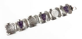 Mexican Sterling Silver Amethyst Mask And Coin Bracelet