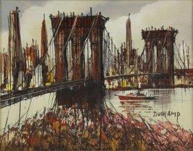Duchamp Oil On Board Of The Brooklyn Bridge Signed Lowe