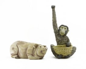 Vintage Concrete Pig Statue Along With Seated Monkey