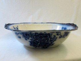 Staffordshire Flow Blue Rectangular Wash Basin Bowl
