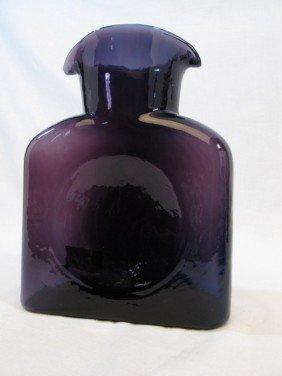 Purple Glass Blenko Double Spout Art Glass Bottle Va