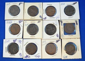12 Coronet/Braided US Large Cent Coins 1831-1853