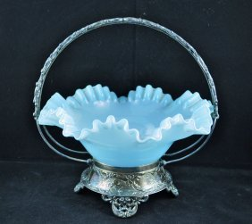 Victorian Blue Opalescent Glass Brides Basket