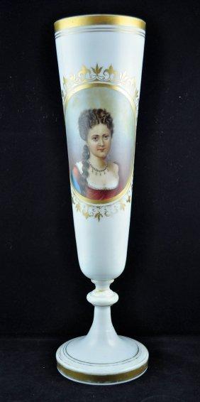 Bohemian Milk Glass Hand Painted Portrait Vase