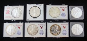 Group Of 8 American Eagle Silver .999 Fine Coins