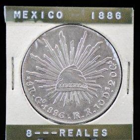 1886/76 Go Rr Mexico Silver 8 Reales Coin