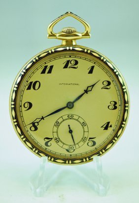 18k International Gold & Enamel 21j Skeleton Watch