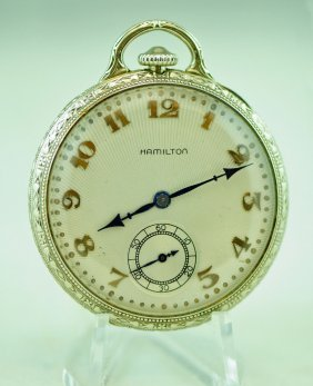 14k White Gold 23j Hamilton 922 Pocket Watch