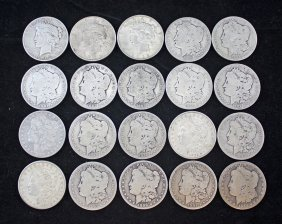Roll Of 20 Silver Dollars O, Cc, S 1886 - 1935