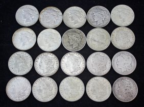 1 Roll (20) U.s. Silver Dollars 12 Morgan 8 Peace