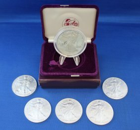 American Eagle Silver 1989 Proof & Five 2001 Unc.