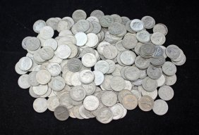 Four Rolls Of 90% Silver Roosevelt Dimes