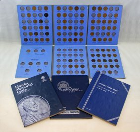 Five One Cent Blue Books W/ 215 Coins, 1857 - 1984