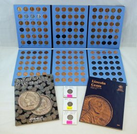 4 - 1 Cent Collector Books & 3 Flying Eagle Cents