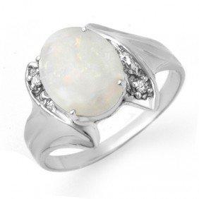 Genuine 0.93 Ctw Opal & Diamond Ring 10K White Gold