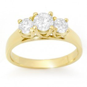 Natural 1.0 Ctw 3Stone Diamond Ring 14K Yellow Gold