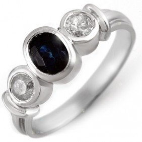 Genuine 1.05 Ctw Blue Sapphire & Diamond Ring 14K White