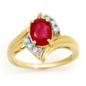 Genuine 1.80 Ctw Ruby & Diamond Ring 10K Yellow Gold