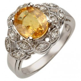 Genuine 3.75 Ctw Yellow Sapphire & Diamond Ring 10K Whi