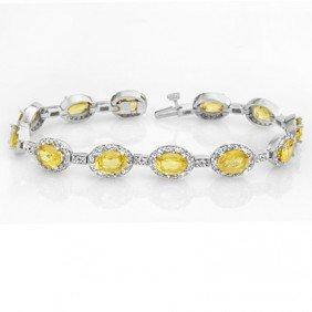 Genuine 19.6 Ctw Sapphire & Diamond Bracelet 14K Gold