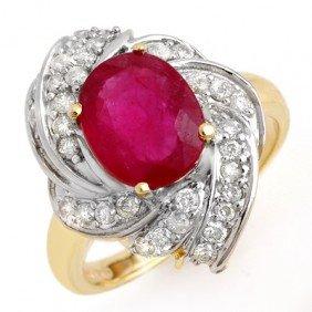 Genuine 3.55 Ctw Ruby & Diamond Ring 14K Yellow Gold