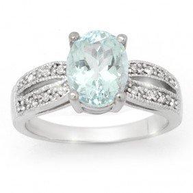 Genuine 3.3 Ctw Aquamarine & Diamond Ring 14K Gold
