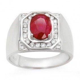 Genuine 3.6 Ctw Ruby & Diamond Men's Ring 14K Gold
