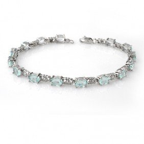 Genuine 8.0 Ctw Aquamarine Bracelet 10K White Gold - L9