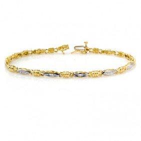 Natural 0.03 Ctw Diamond Bracelet 10K Yellow Gold - L90