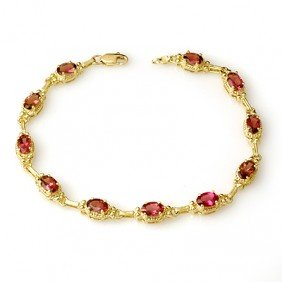Genuine 4.5 Ctw Pink Tourmaline Bracelet 10K Yellow Gol