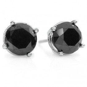 Natural 2.0 Ctw Black Diamond Stud Earrings 14K Gold -