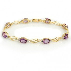 Genuine 6.02 Ctw Amethyst & Diamond Bracelet 10K Gold -